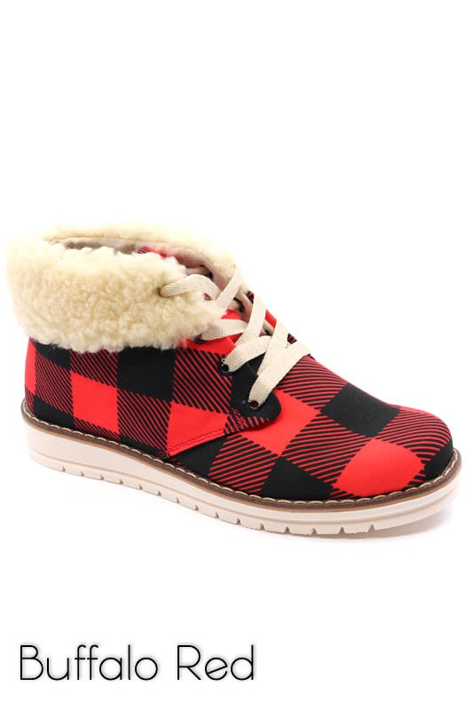 Snow-Buffalo Plaid Bootie