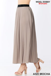 Elegant Pleat Skirt-Mocha