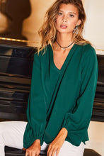 Bubble Sleeve Top-Hunter Green