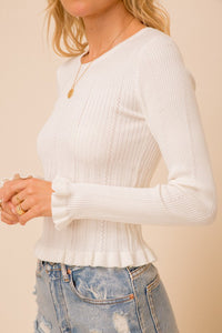 Lettuce Frill Sweater Top