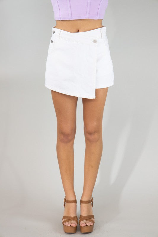 Wrap Flap Denim Skort-White