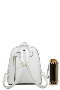 White on White Floral Backpack