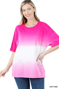 Dip Dye Top-Hot Pink