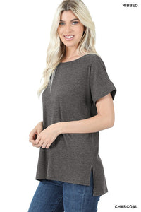 Basic Ribbed Top-Charcoal