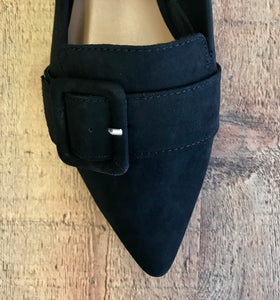 Black Buckle Flat Shoes