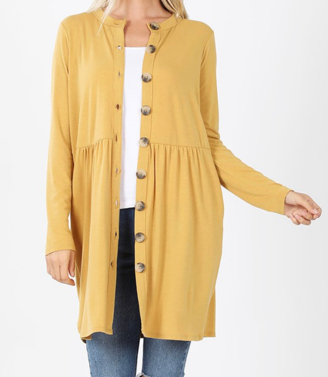 Basic Button Up Tunic-Mustard