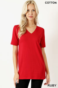 Basic V-Neck Short Sleeve T-Shirt-Red