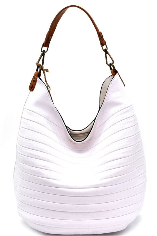 Emboss Hobo Bag-White