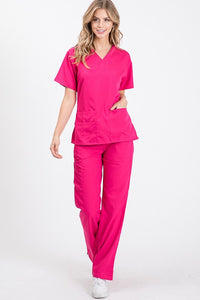 Scrubs Top-Magenta