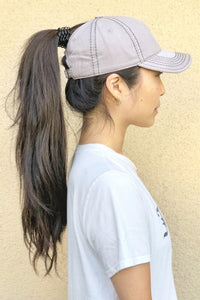 Ponytail Cap-Light Grey