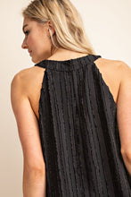 Pleated Textured High Neck Sleeveless Black Top