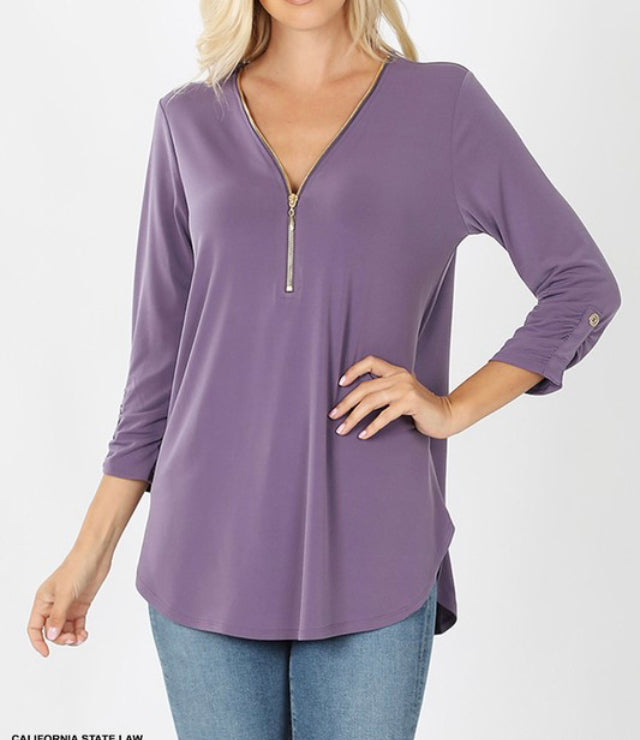 Basic Zip Up Top-Lavender Grey