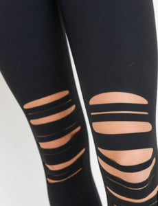 Workout-Highwaist Shredded Knee Laser-Cut Leggings