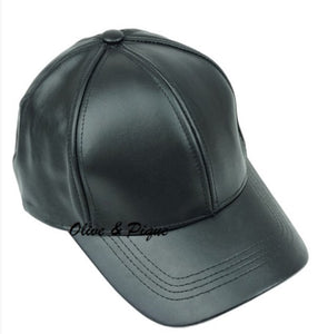 Black Leather Ball Cap