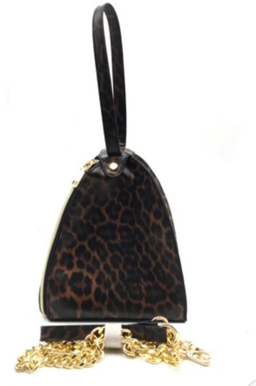 Purse-Zipper Triangle-Dark Leopard