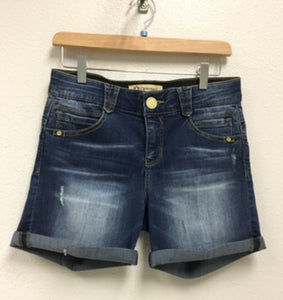"Democracy 5"" Blue Denim Shorts"
