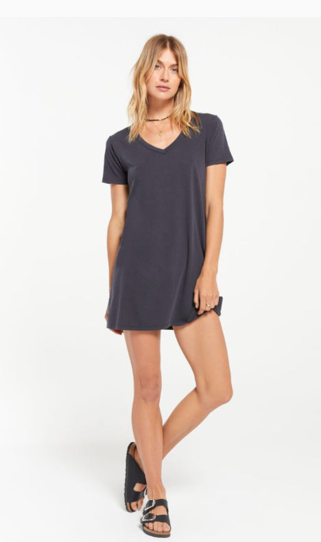 Organic Cotton T-Shirt Dress-Washed Black