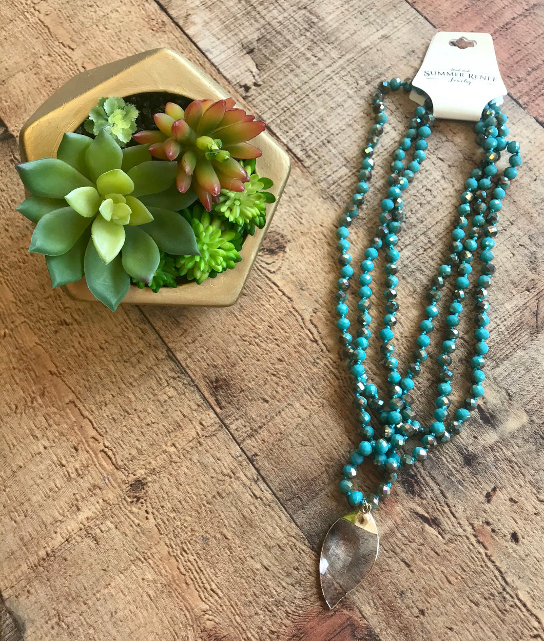 Summer Renee Wrap Necklace-Turquoise Leaf
