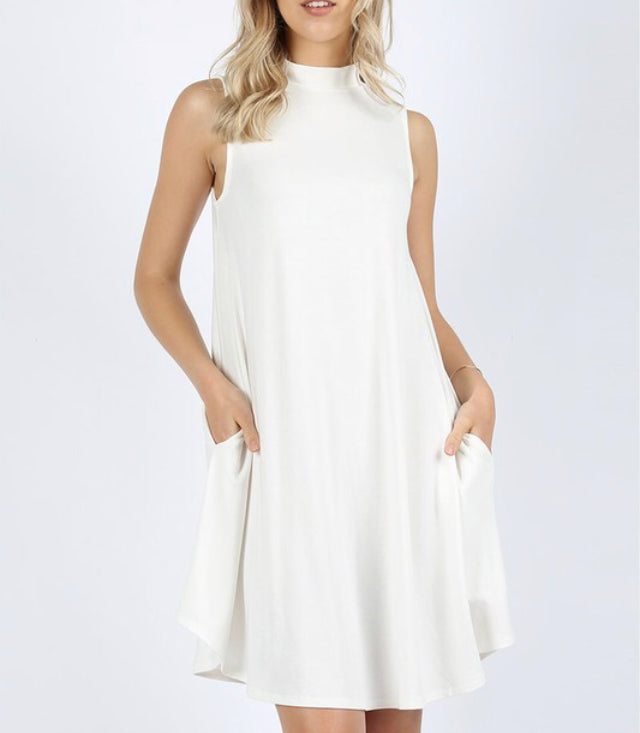 High Neck Dress-White