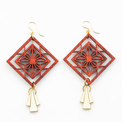 Aoi Earrings - African Padauk and Gold Triangle Drops