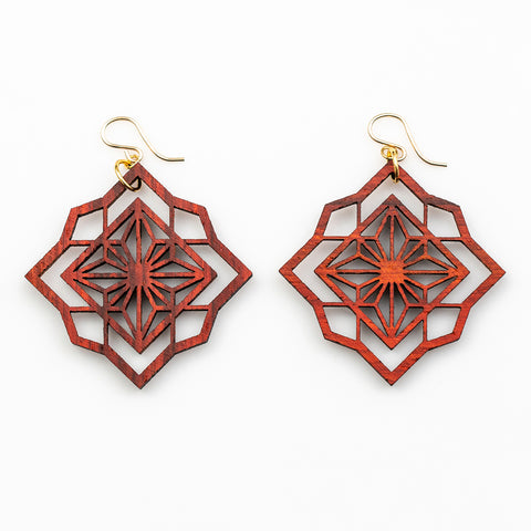 Sakura Earrings - African Padauk and Gold