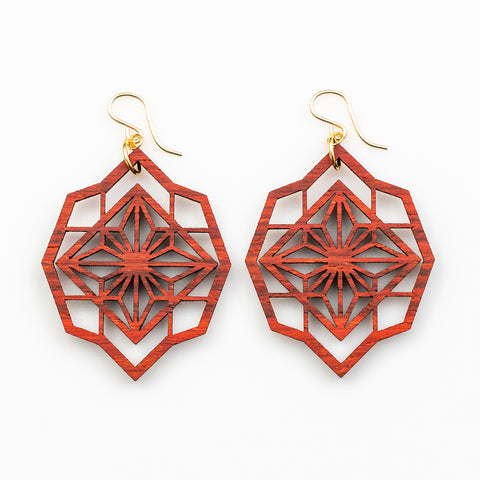 Akari Earrings - African Padauk and Gold