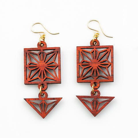 Koharu Earrings - African Padauk and Gold