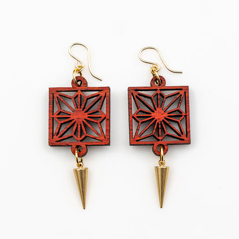 Akiko Earrings - African Padauk and Gold Daggers