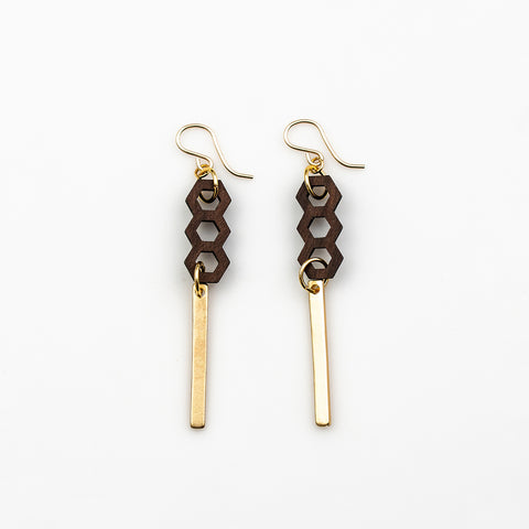 Ayala Earrings - Bolivian Rosewood Honeycombs with Gold Bars