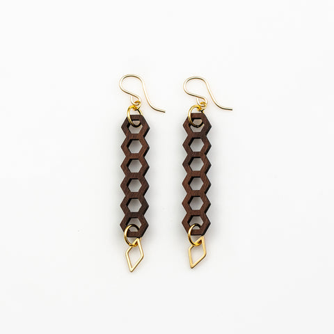 Kumara Earrings - Bolivian Rosewood Honeycombs with Gold Charms