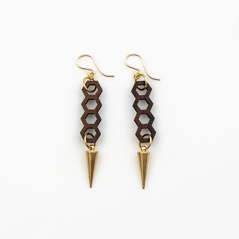 Irena Earrings - Bolivian Rosewood Honeycombs with Gold Spikes
