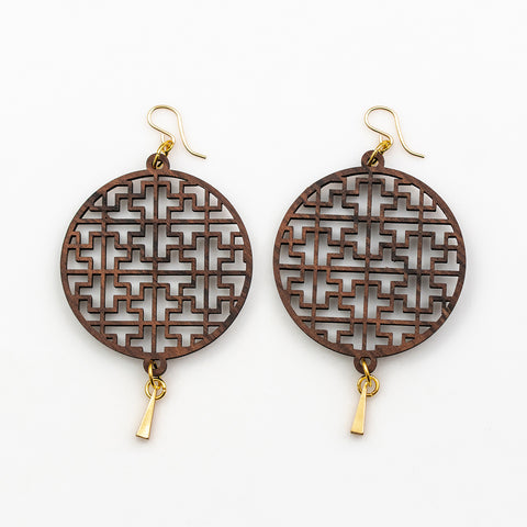 Achintya Earrings - Bolivian Rosewood and Gold Triangles