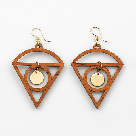 Lorelei Earrings - Cherry Hardwood and Gold Disks