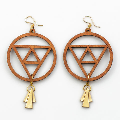 Ishani Earrings - Cherry Hardwood and Gold Triangle Drops