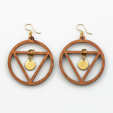 Ananya Earrings - Cherry Hardwood and Gold Disks