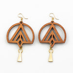 Dakota Earrings - Cherry Hardwood and Gold Triangle Drops
