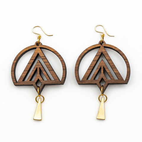 Dakota Earrings - Bolivian Rosewood with Gold Triangles