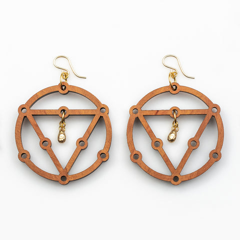Radha Earrings - Cherry Hardwood and Gold Teardrops