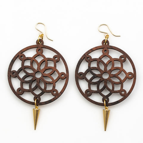 Eve Earrings - Bolivian Rosewood Mandala with Gold Daggers