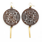 Bhavani Earrings - Bolivian Rosewood with Gold Bars