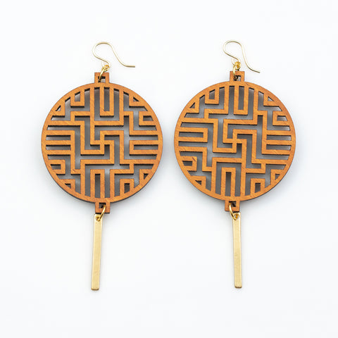 Bhavani Earrings - Cherry Hardwood and Gold Bars