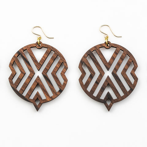 Lilit Earrings - Bolivian Rosewood Stripes