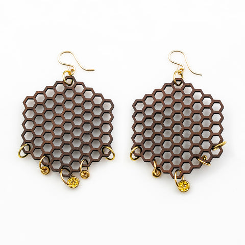 Amrita Earrings - Bolivian Rosewood, Swarovski Roundel Beads and Gold