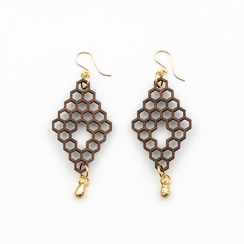 Sage Earrings - Bolivian Rosewood Honeycombs with Gold Teardrops