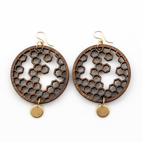 Karin Earrings - Bolivian Rosewood Swirls with Gold Disks