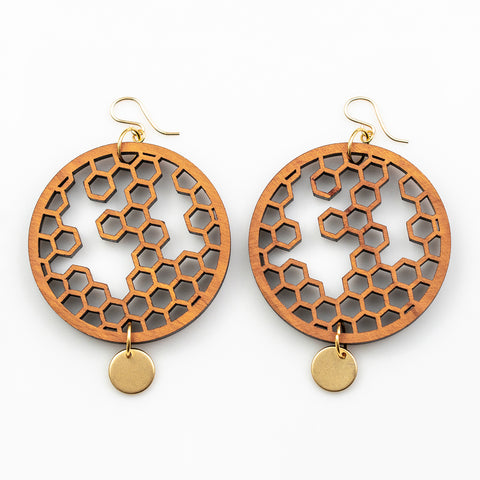 Karin Earrings - Cherry Hardwood and Gold Disks