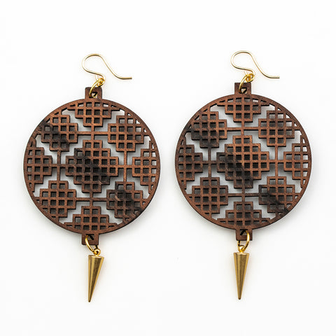 Deva Earrings - Bolivian Rosewood with Gold Spikes