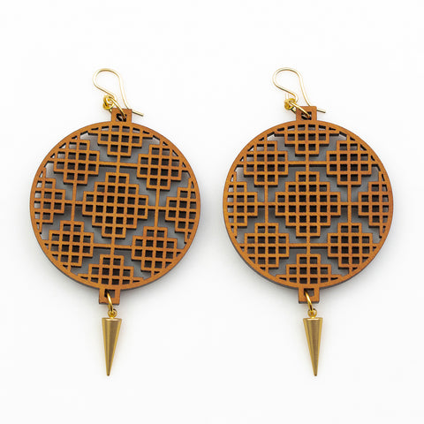 Deva Earrings - Cherry Hardwood and Gold Daggers
