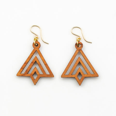 Sanji Earrings - Cherry Hardwood and Gold
