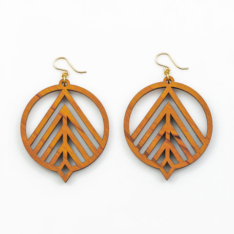 Purusha Earrings - Cherry Hardwood and Gold
